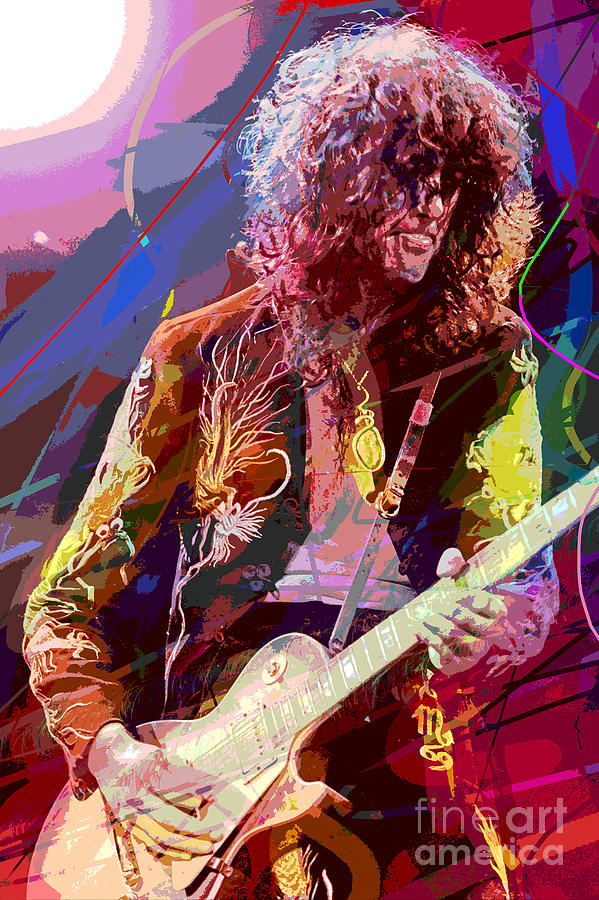 Jimmy Page Les Paul Gibson Painting  - Jimmy Page Les Paul Gibson Fine Art Print