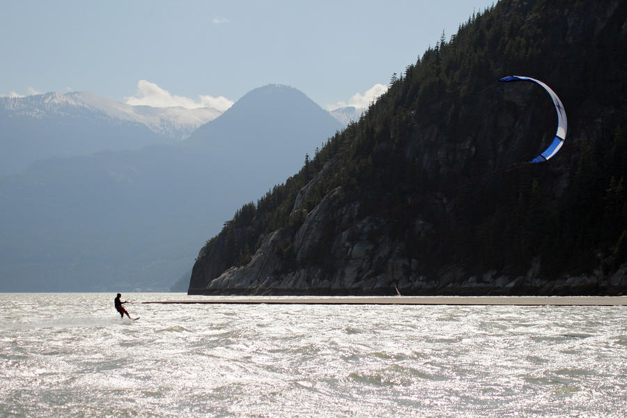 Kite Surfing The Spit In Squamish B.c Canada Photograph  - Kite Surfing The Spit In Squamish B.c Canada Fine Art Print