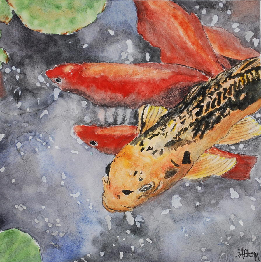 Koi fish painting by sue ann glenn for Large koi fish