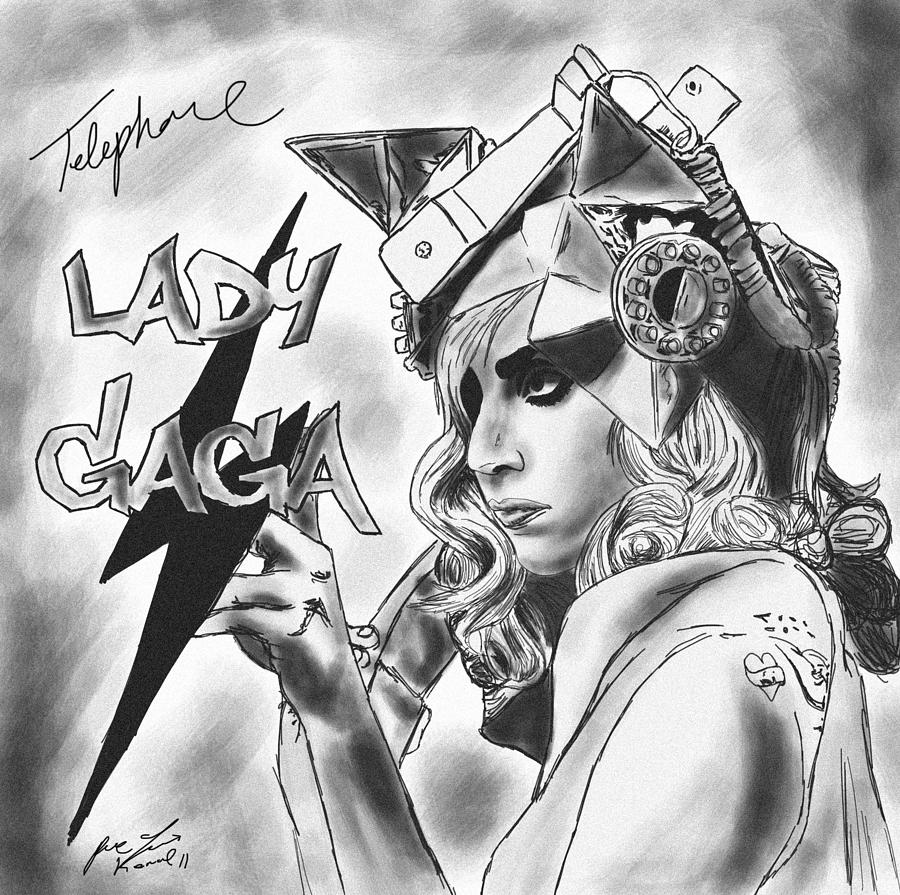 Lady Gaga Telephone Drawing Drawing - Lady Gaga Telephone Drawing by Pierre Louis