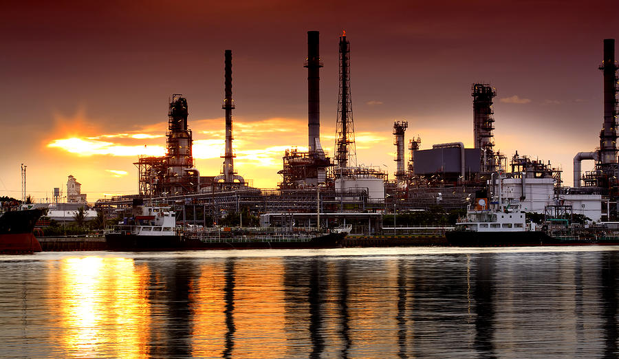Landscape of river and oil refinery factory is a photograph by anek