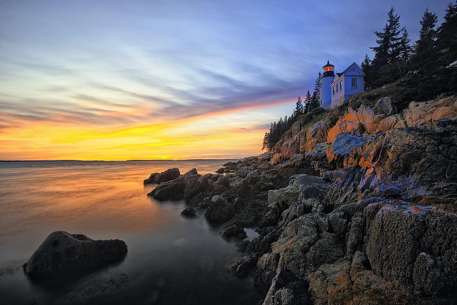 Lighthouse On A Cliff At Sunset Photograph  - Lighthouse On A Cliff At Sunset Fine Art Print