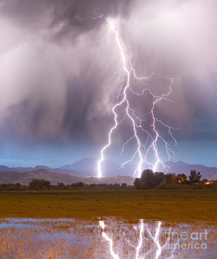 Lightning Striking Longs Peak Foothills 6 Photograph