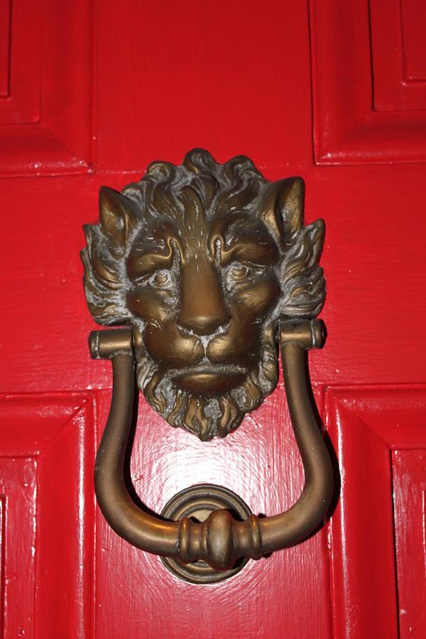 Lion head door knocker by lauri novak - Large lion head door knocker ...