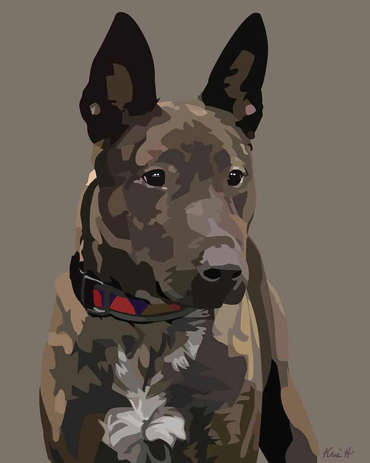 Mixed-breed Dog Digital Art - Listening by Kris Hackleman