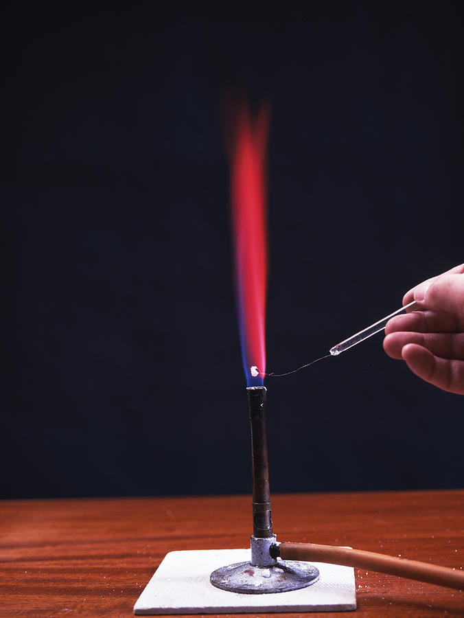 Lithium Flame Test Photograph  - Lithium Flame Test Fine Art Print