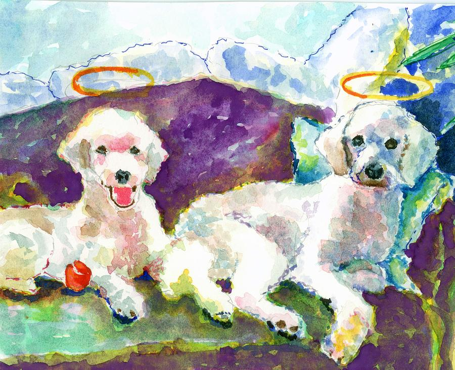 Little Angels Poodles Painting  - Little Angels Poodles Fine Art Print