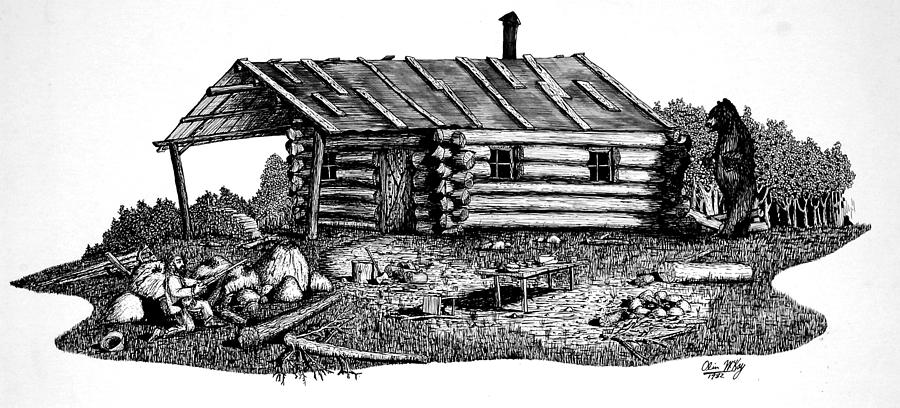 Log cabin drawing by olin mckay Cabin drawings
