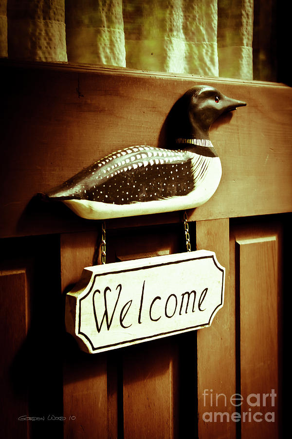 Loon Welcome Sign On Cottage Door Photograph