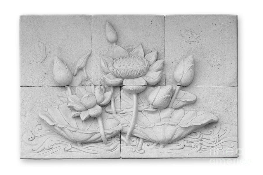 Low Relief Cement Thai Style  Relief  - Low Relief Cement Thai Style  Fine Art Print