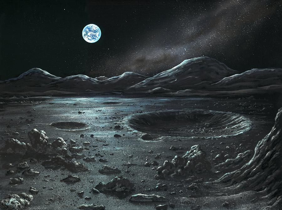 lunar landscape looking at earth - photo #16