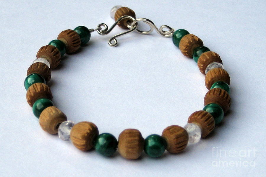 Mala Bracelet - Malachite - Faceted Rose Quartz - Vintage Sandalwood Mala Beads - Ooak Jewelry