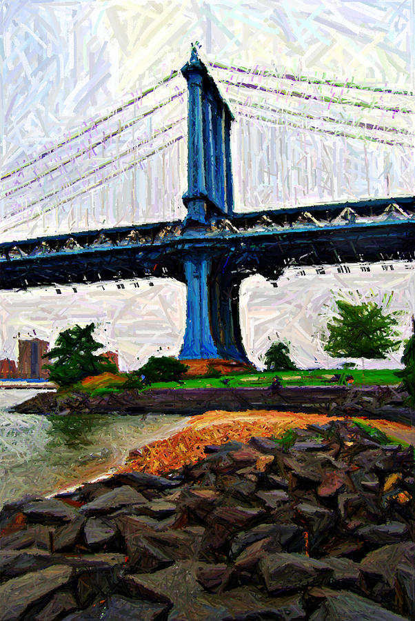 Manhattan Bridge Beach Sketch Digital Art  - Manhattan Bridge Beach Sketch Fine Art Print