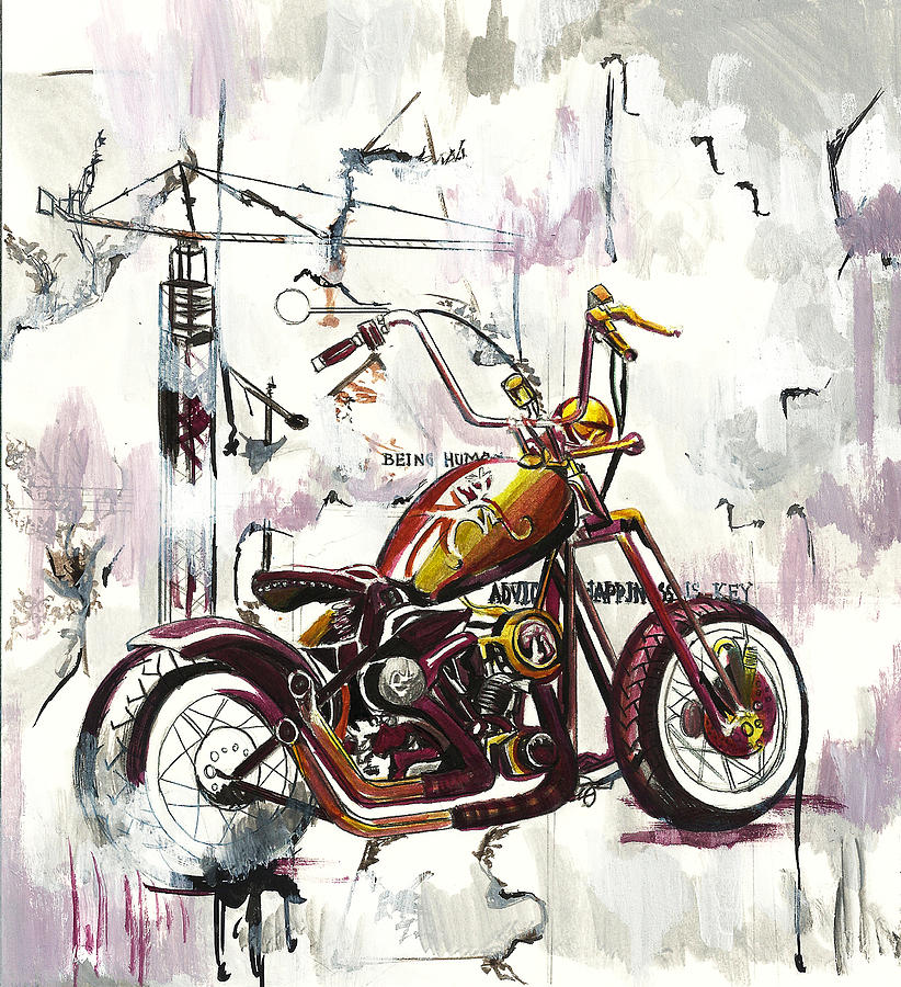 Mapped Motorcycle Painting  - Mapped Motorcycle Fine Art Print
