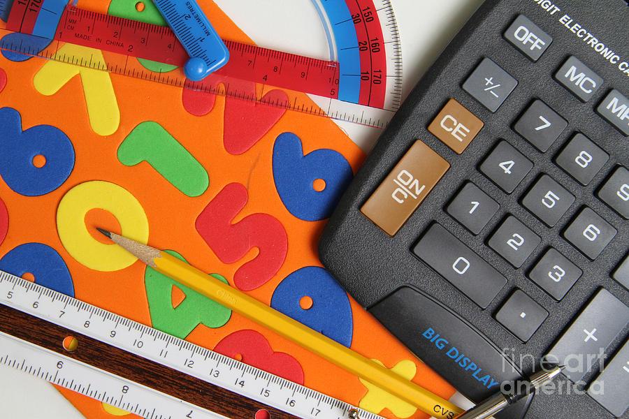 Calculator Photograph - Mathematics Tools by Photo Researchers Inc