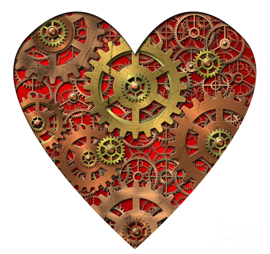 Mechanical Heart Digital Art  - Mechanical Heart Fine Art Print