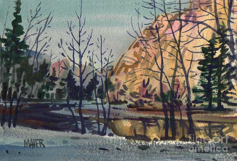 Merced River In Winter Painting