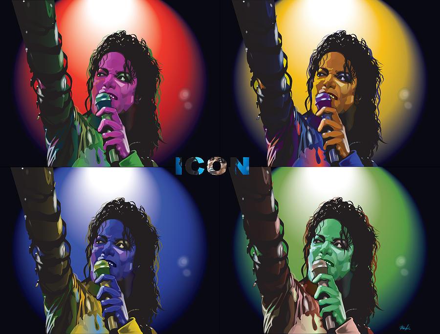 Celebrity Art Digital Art - Michael Jackson Icon4 by Mike  Haslam