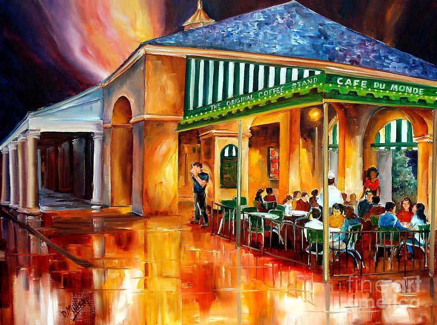Midnight At The Cafe Du Monde Painting  - Midnight At The Cafe Du Monde Fine Art Print