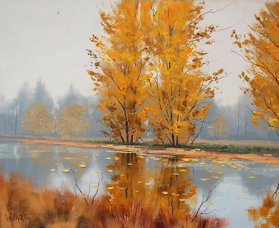 Misty Lake Painting  - Misty Lake Fine Art Print