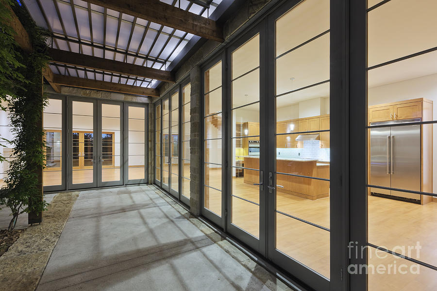 Modern Home Kitchen Through Glass Doors Photograph  - Modern Home Kitchen Through Glass Doors Fine Art Print