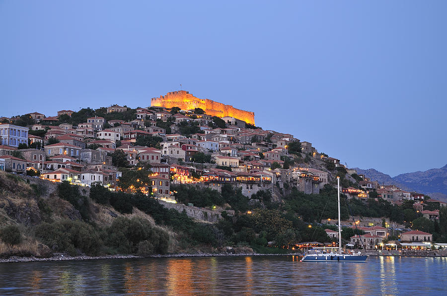 Molyvos Village During Dusk Time Photograph  - Molyvos Village During Dusk Time Fine Art Print