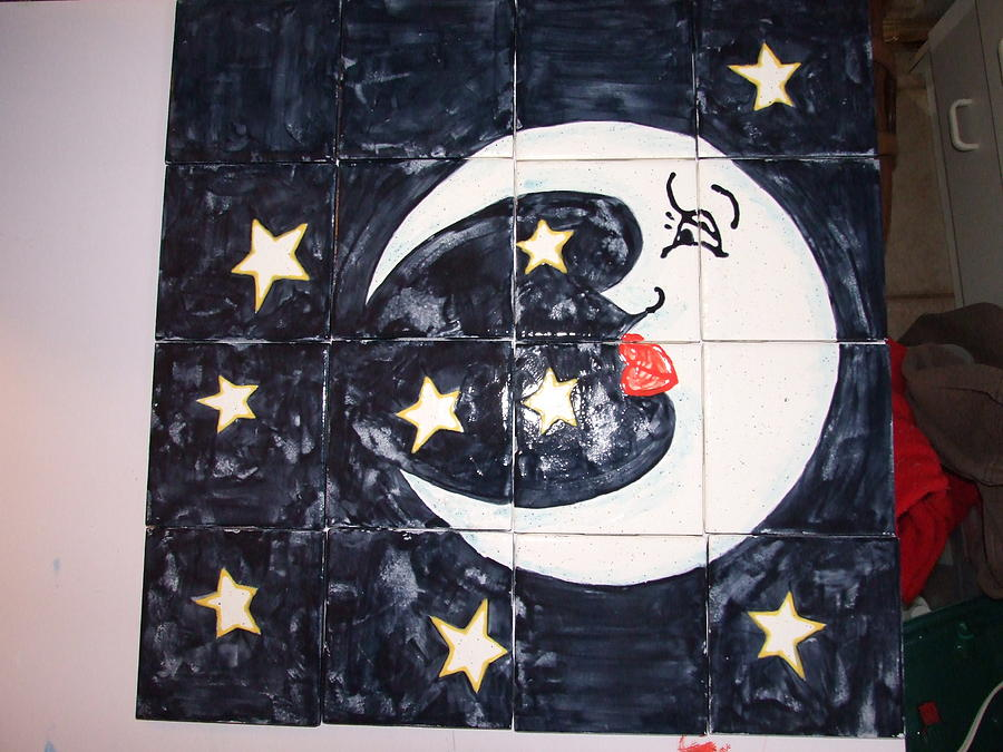 Moon And Stars Ceramic Art