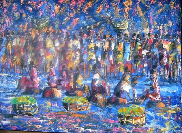 Moonlight Market Scene Painting