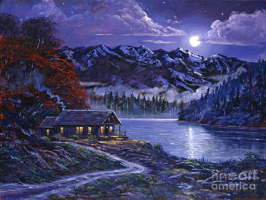 Moonlit Cabin Painting  - Moonlit Cabin Fine Art Print