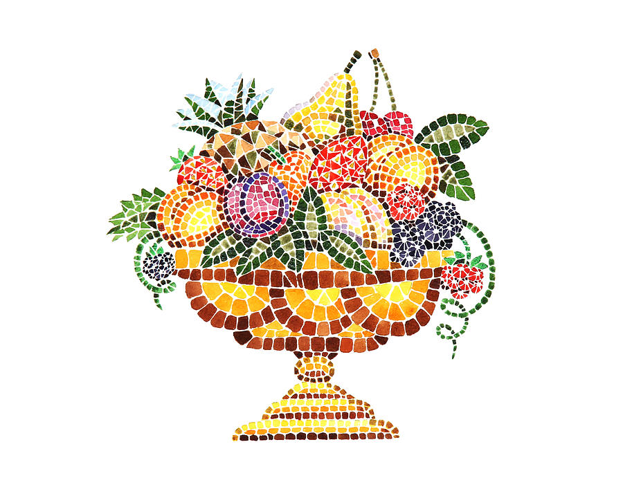 Mosaic Fruit Vase Painting