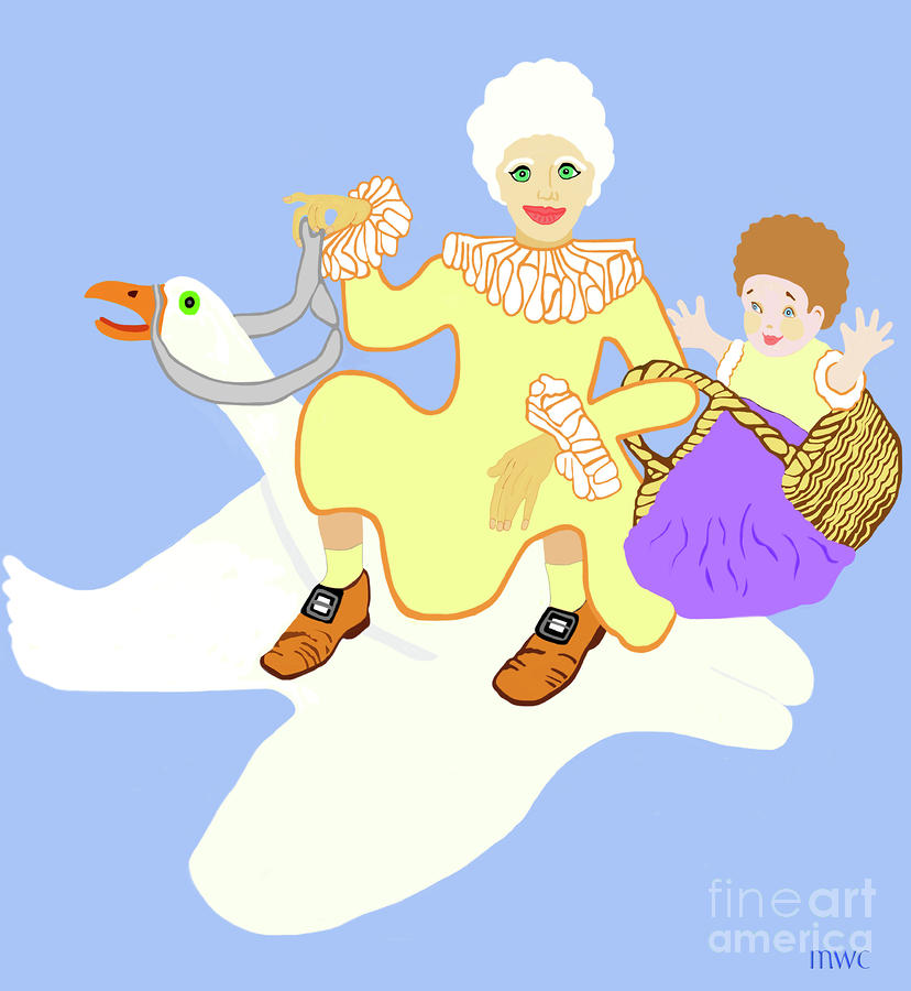 Mother Goose On Her Flying Goose Digital Art  - Mother Goose On Her Flying Goose Fine Art Print