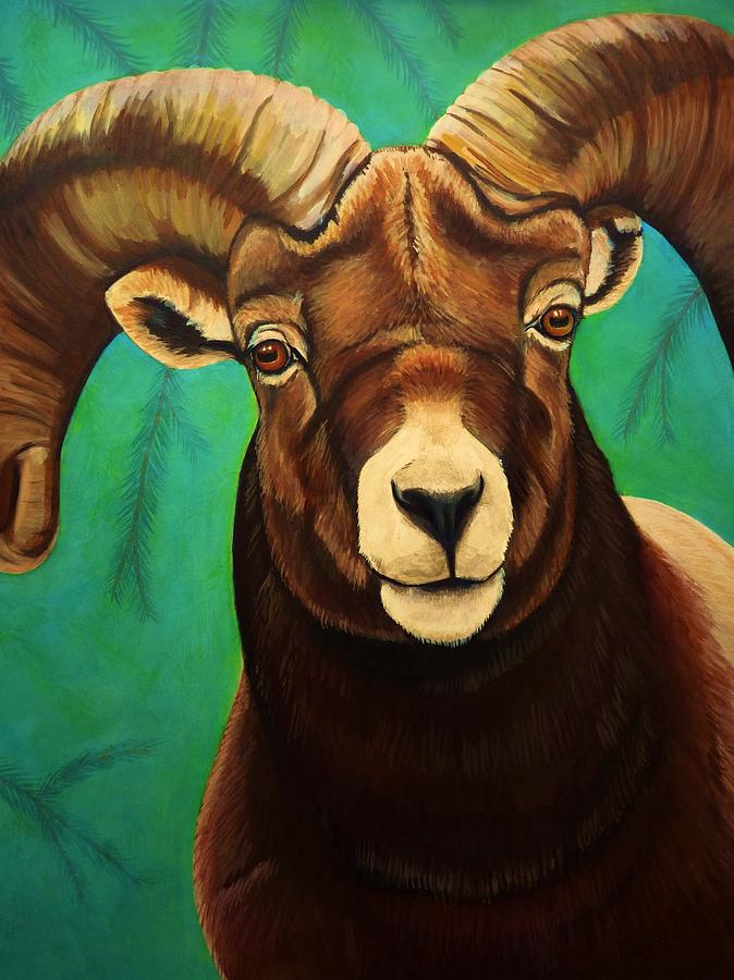 Mountain Bighorn Painting  - Mountain Bighorn Fine Art Print