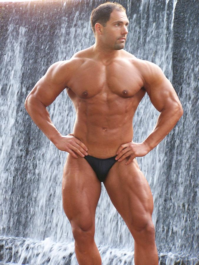Muscleart Marius Waterfall And Muscle Photograph  - Muscleart Marius Waterfall And Muscle Fine Art Print