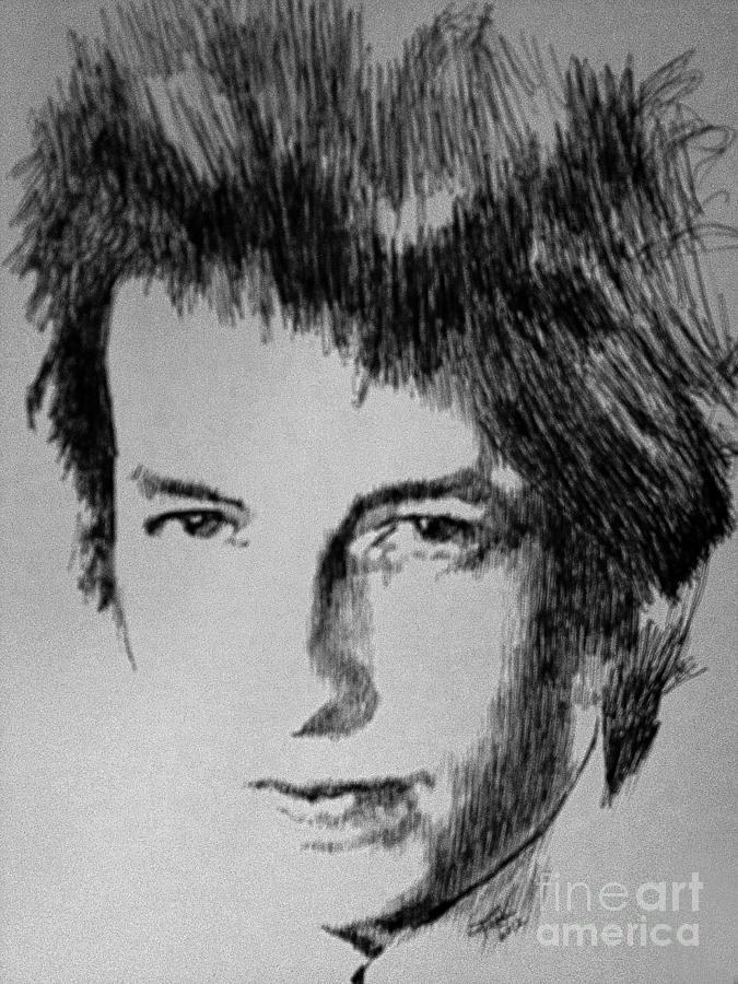 Bob Dylan Drawing - Music Man by Robbi  Musser