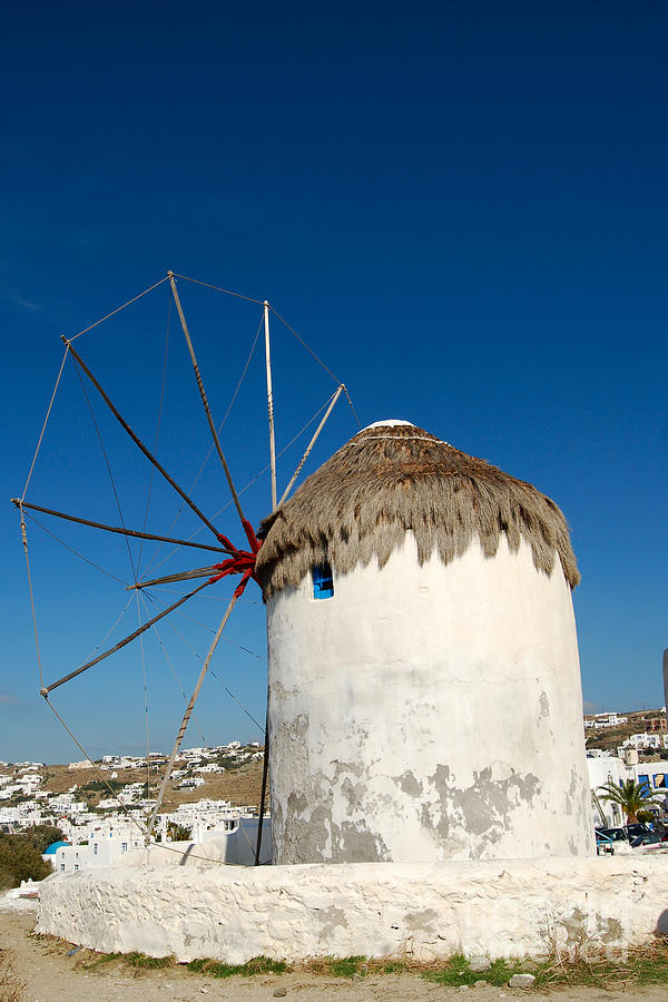Mykonos Greece Windmill Digital Art  - Mykonos Greece Windmill Fine Art Print