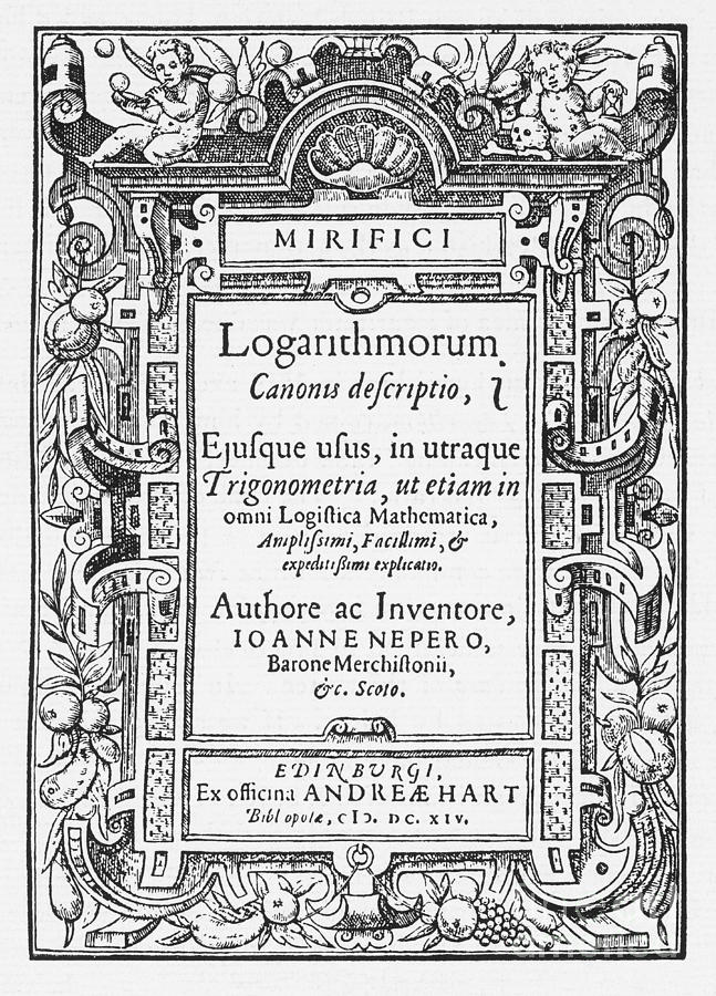 Neper Photograph - Napiers Treatise On Logarithms by Photo Researchers