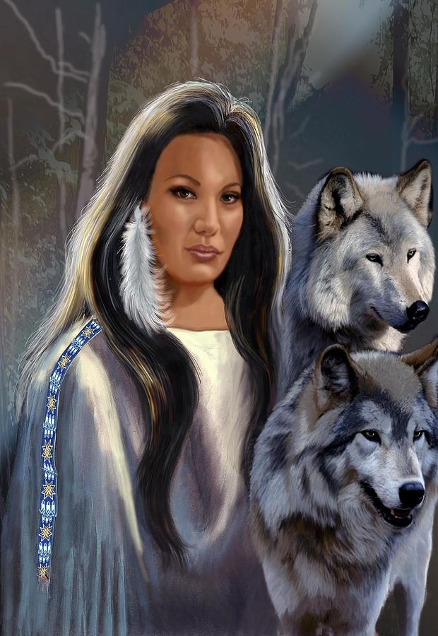 Native American Maiden With Wolfs Painting  - Native American Maiden With Wolfs Fine Art Print