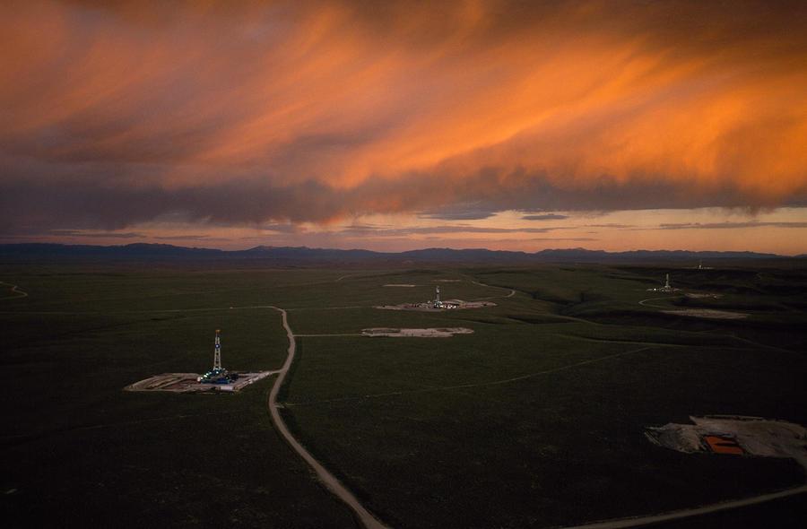 Natural Gas Drilling Rigs Dot Photograph
