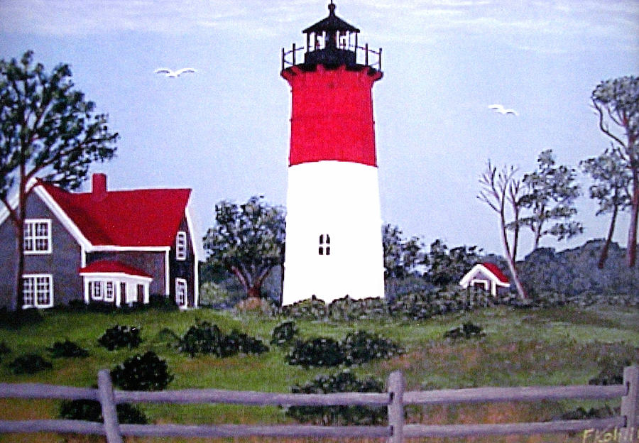Nauset Lighthouse Painting Painting  - Nauset Lighthouse Painting Fine Art Print