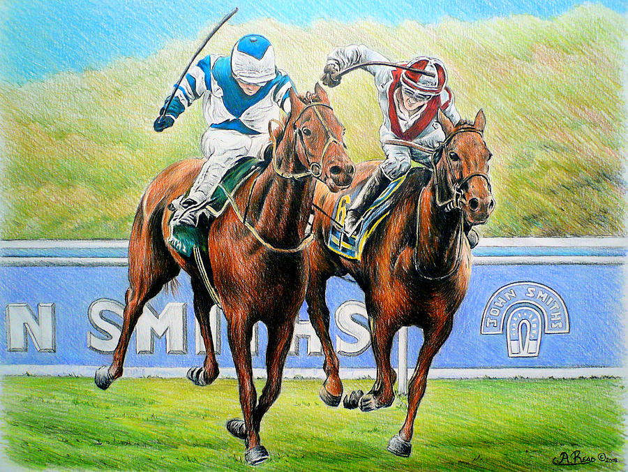 Horse Art Painting - Nearing The Finish by Andrew Read