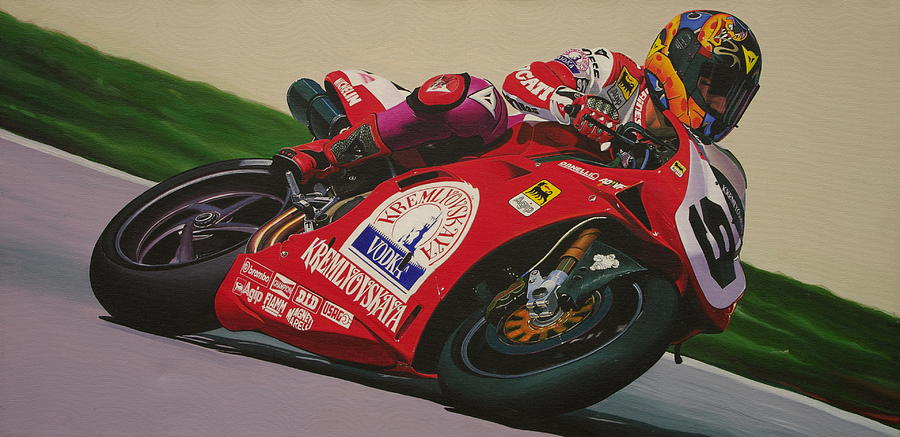 Neil Hodgson - Ducati World Superbike Painting  - Neil Hodgson - Ducati World Superbike Fine Art Print