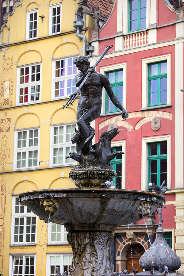 Neptune Fountain In Gdansk Photograph  - Neptune Fountain In Gdansk Fine Art Print