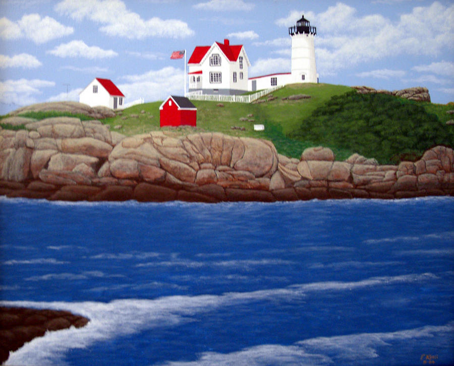 Nubble Lighthouse Painting  - Nubble Lighthouse Fine Art Print