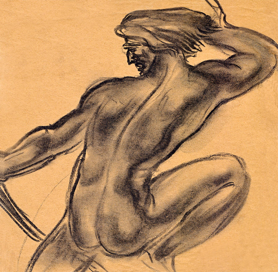 Nude Men Drawing  - Nude Men Fine Art Print