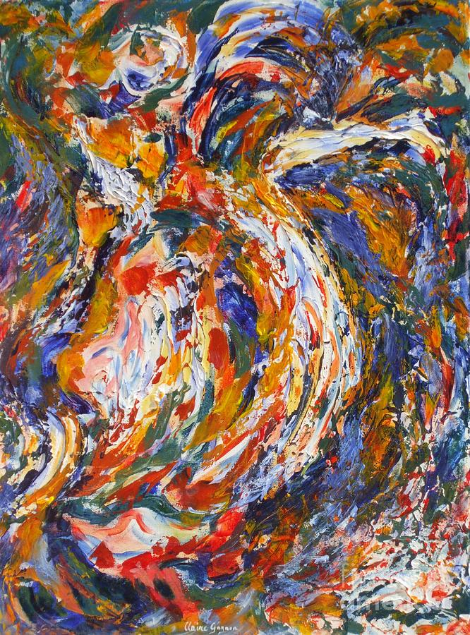 Abstract Painting - Oiseau Ebouriffe by Claire Gagnon