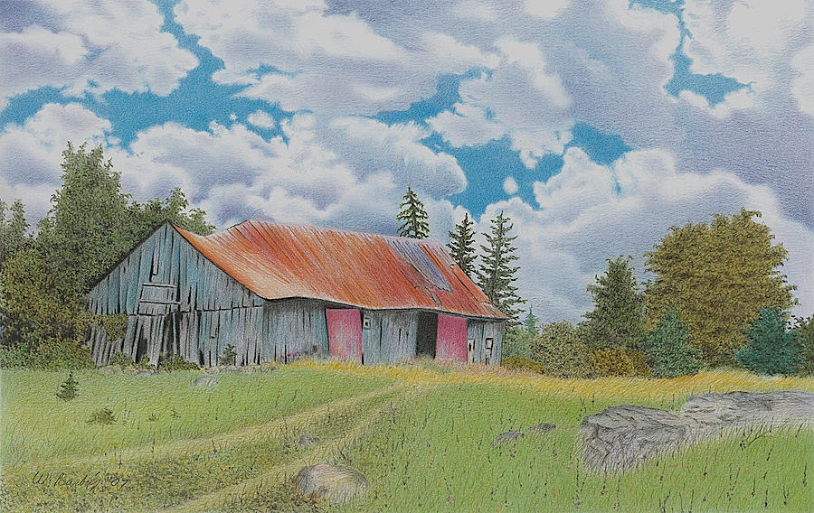 Old Barn Drawing  - Old Barn Fine Art Print