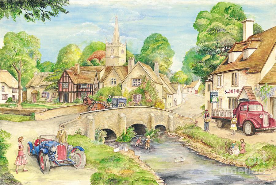 Old English Village Painting Old English Village Fine Art Print Morgan