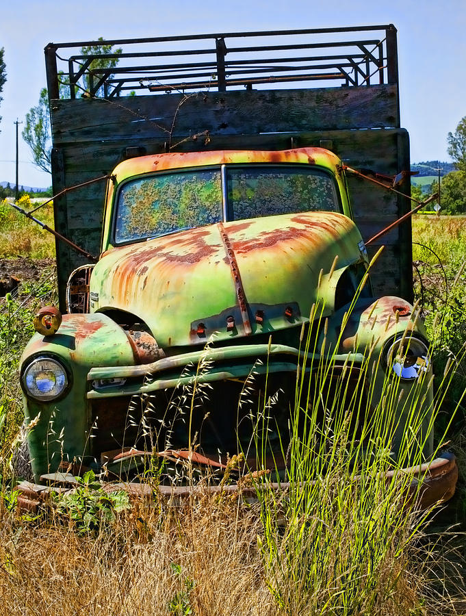 Old Green Truck Photograph
