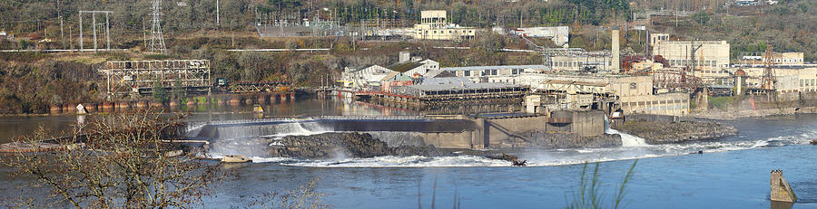 Old Industrial Complex Panorama Oregon City Or. Photograph  - Old Industrial Complex Panorama Oregon City Or. Fine Art Print