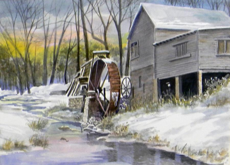 Old Mill In Winter Painting